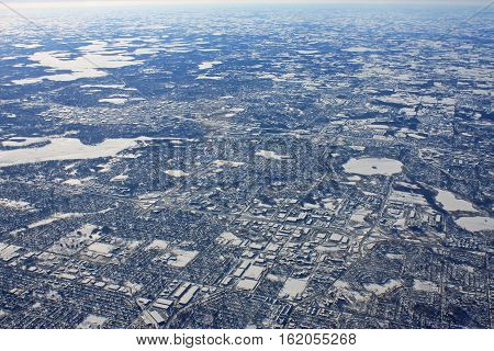 looking down on Minneapolis in the winter