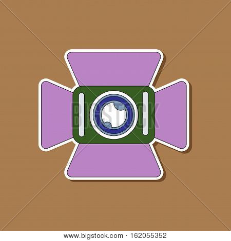 paper sticker on stylish background of camcorder