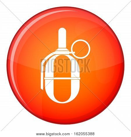 Hand paintball grenade icon in red circle isolated on white background vector illustration