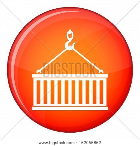Crane hook lifts container icon in red circle isolated on white background vector illustration