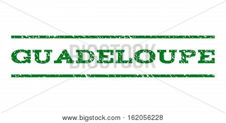 Guadeloupe watermark stamp. Text tag between horizontal parallel lines with grunge design style. Rubber seal stamp with dirty texture. Vector green color ink imprint on a white background.