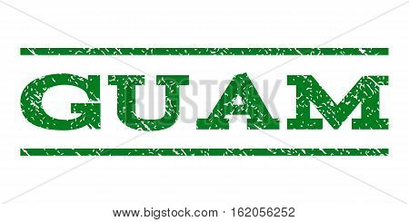 Guam watermark stamp. Text tag between horizontal parallel lines with grunge design style. Rubber seal stamp with dust texture. Vector green color ink imprint on a white background.