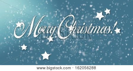 Merry Christmas text with snowflakes to greeting card