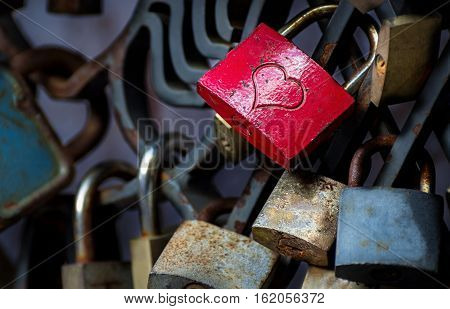 Love Padlocks on The Fence. Padlock with Heart.