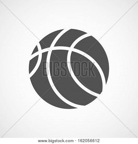 Vector flat stylize basketball icon. Isolated black icon for logo web site design button app UI. Basketball illustration for posters cards book cover flyers banner web game designs.