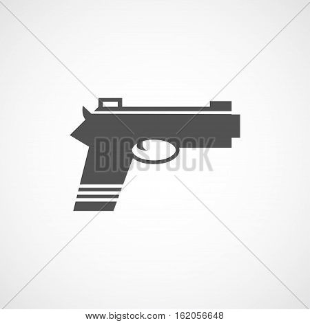 Vector flat gun icon. Isolated black gun icon for logo web site design app UI. Flat weapon illustration for posters cards book cover flyers banner web game designs.