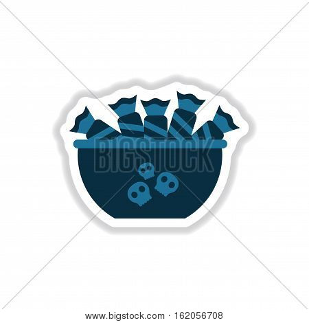 paper sticker on stylish background of halloween candy