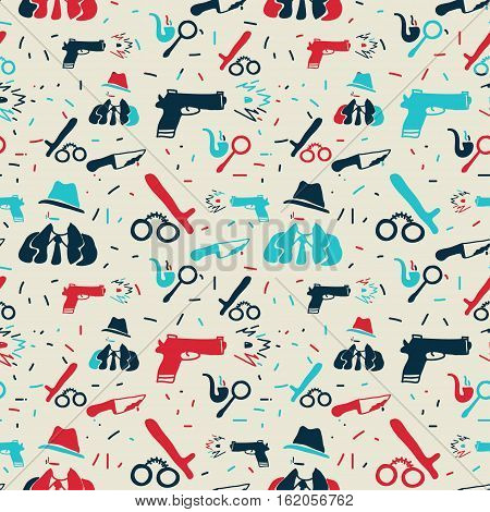 Vector hand drawn seamless pattern with detective gun handcruffs. Crime detective noir police theme. Colored detective pattern for textile paper book game cards banner web design.