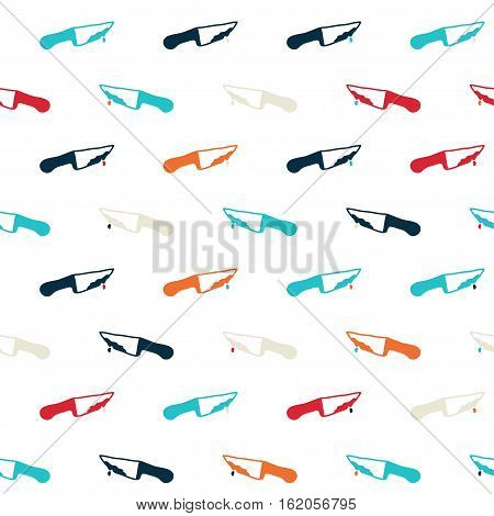 Vector hand drawn cartoon seamless pattern with knifes. Crime murder theme. Colored bloody knife pattern for paper textile polygraphy game web design