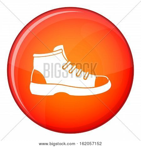Tourist shoe icon in red circle isolated on white background vector illustration