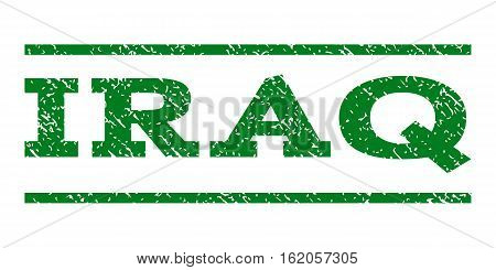 Iraq watermark stamp. Text tag between horizontal parallel lines with grunge design style. Rubber seal stamp with dirty texture. Vector green color ink imprint on a white background.