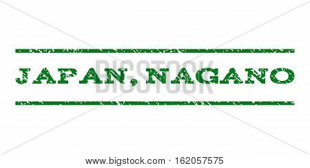 Japan, Nagano watermark stamp. Text caption between horizontal parallel lines with grunge design style. Rubber seal stamp with dirty texture. Vector green color ink imprint on a white background.