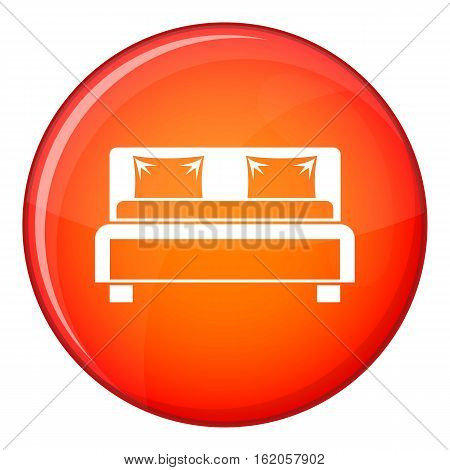 Double bed icon in red circle isolated on white background vector illustration