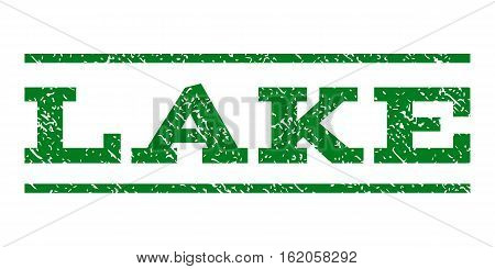 Lake watermark stamp. Text tag between horizontal parallel lines with grunge design style. Rubber seal stamp with dirty texture. Vector green color ink imprint on a white background.