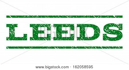 Leeds watermark stamp. Text tag between horizontal parallel lines with grunge design style. Rubber seal stamp with dust texture. Vector green color ink imprint on a white background.