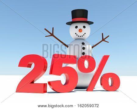 25 percent discount - Happy snowman announces winter discounts 3d render