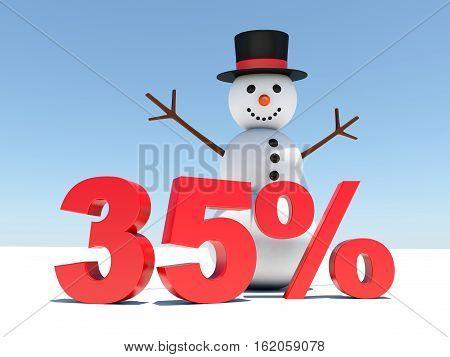 35 percent discount - Happy snowman announces winter discounts 3d render