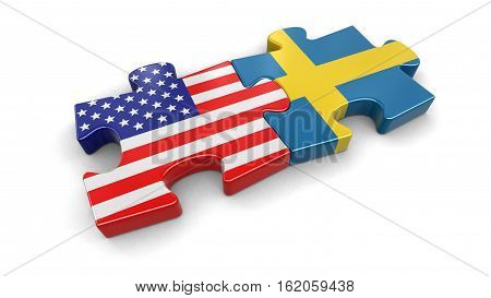 3D Illustration. USA and Sweden puzzle from flags. Image with clipping path