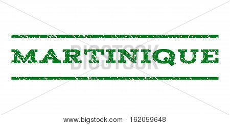 Martinique watermark stamp. Text caption between horizontal parallel lines with grunge design style. Rubber seal stamp with dust texture. Vector green color ink imprint on a white background.