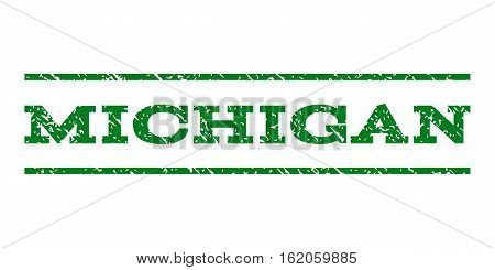 Michigan watermark stamp. Text tag between horizontal parallel lines with grunge design style. Rubber seal stamp with unclean texture. Vector green color ink imprint on a white background.