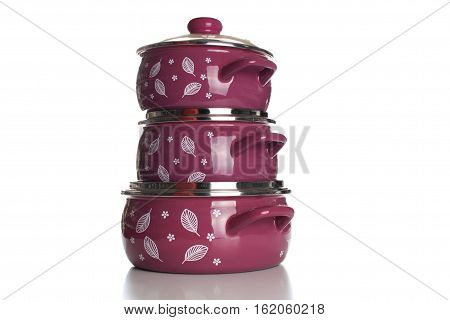 Stainless Steel Pots On White Background. Set Of Three Stacked Cooking Pots With Glass See Through L