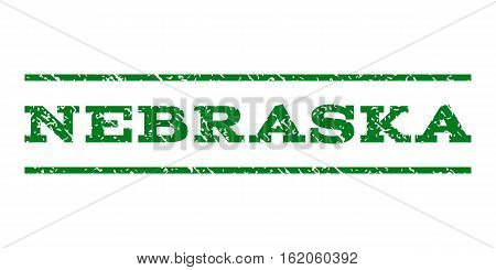Nebraska watermark stamp. Text caption between horizontal parallel lines with grunge design style. Rubber seal stamp with scratched texture. Vector green color ink imprint on a white background.