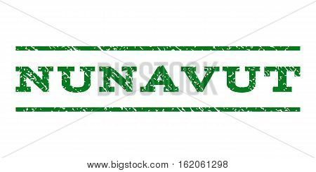 Nunavut watermark stamp. Text caption between horizontal parallel lines with grunge design style. Rubber seal stamp with dirty texture. Vector green color ink imprint on a white background.
