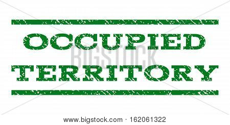 Occupied Territory watermark stamp. Text caption between horizontal parallel lines with grunge design style. Rubber seal stamp with unclean texture.