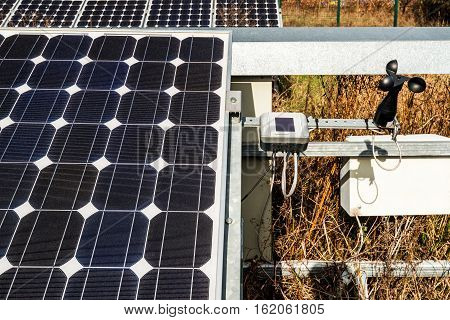 Solar Panel, Photovoltaic With Wind Detector And Sunny Sensorbox