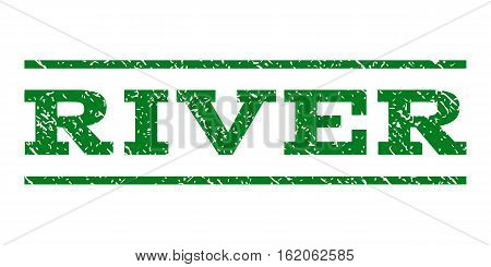 River watermark stamp. Text caption between horizontal parallel lines with grunge design style. Rubber seal stamp with dust texture. Vector green color ink imprint on a white background.
