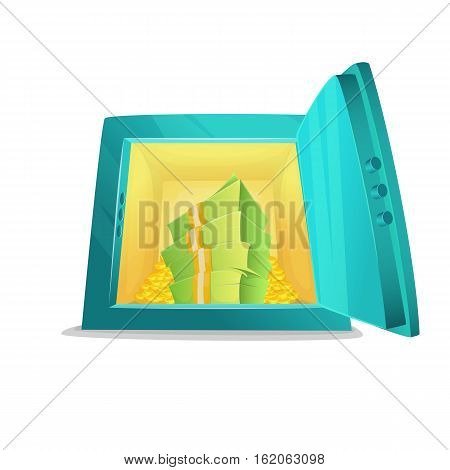 Small safe. Cartoon style illustration of opened bank safe with money and coins inside. Vector illustration.