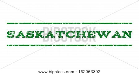 Saskatchewan watermark stamp. Text tag between horizontal parallel lines with grunge design style. Rubber seal stamp with scratched texture. Vector green color ink imprint on a white background.