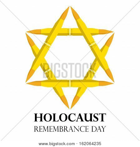 Holocaust Remembrance Day May 5 Jewish star made from rifle bullets vector illustration holocaust banner symbol emblem logo stamp or sign