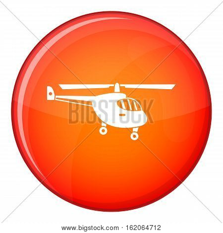 Helicopter icon in red circle isolated on white background vector illustration