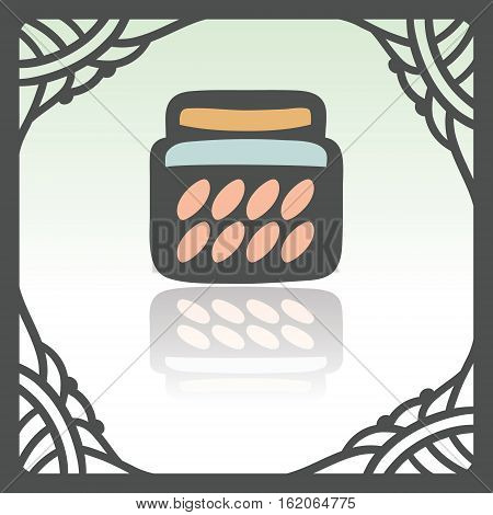 Vector outline glass pot with jam, preserve, confiture, marmalade, conserve icon in hand drawn frame. Elements for mobile concepts and web apps. Modern infographic logo and pictogram.