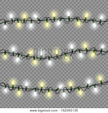 christmas lights luminous garland isolated realistic design elements for xmas holiday greeting card, poster, winter decoration, transparent vector illustration eps10