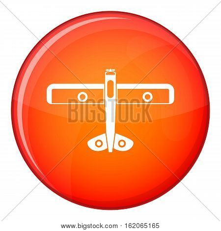 Military fighter plane icon in red circle isolated on white background vector illustration