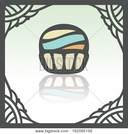 Vector outline cupcake with cream food icon in hand drawn frame. Elements for mobile concepts and web apps. Modern infographic logo and pictogram.
