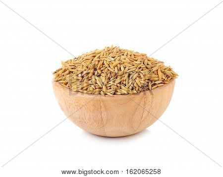 Paddy seed rice in wooden bowls agricultural