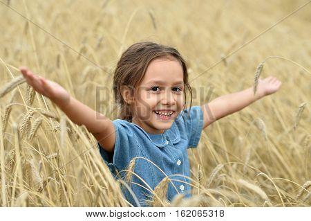 Cute little girl in summer wheat field