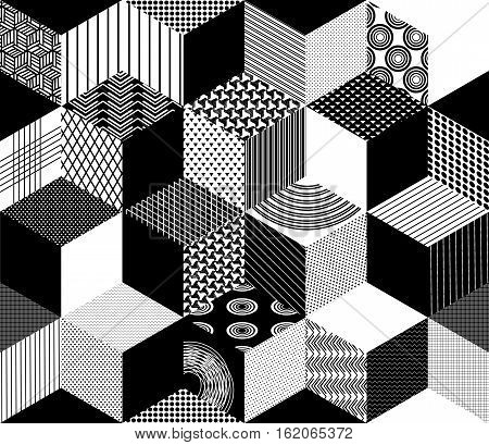 Seamless Pattern Background With Textured Black White Rhombus
