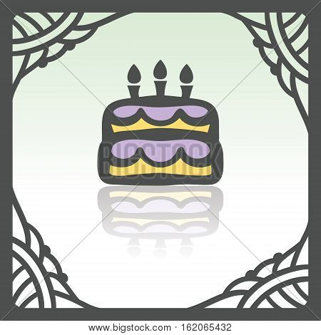 Vector outline birthday cake with candles food icon in hand drawn frame. Elements for mobile concepts and web apps. Modern infographic logo and pictogram.