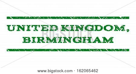 United Kingdom, Birmingham watermark stamp. Text caption between horizontal parallel lines with grunge design style. Rubber seal stamp with unclean texture.