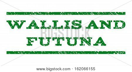 Wallis and Futuna watermark stamp. Text tag between horizontal parallel lines with grunge design style. Rubber seal stamp with unclean texture. Vector green color ink imprint on a white background.