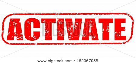 Activate on the white background, red illustration