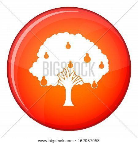 Pear tree with pears icon in red circle isolated on white background vector illustration