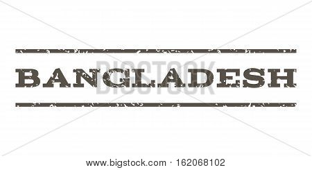 Bangladesh watermark stamp. Text tag between horizontal parallel lines with grunge design style. Rubber seal stamp with scratched texture. Vector grey color ink imprint on a white background.