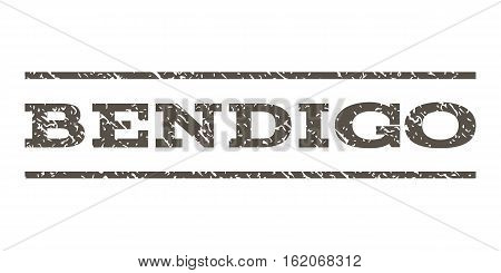 Bendigo watermark stamp. Text caption between horizontal parallel lines with grunge design style. Rubber seal stamp with dirty texture. Vector grey color ink imprint on a white background.