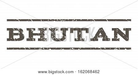 Bhutan watermark stamp. Text tag between horizontal parallel lines with grunge design style. Rubber seal stamp with dust texture. Vector grey color ink imprint on a white background.