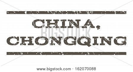 China, Chongqing watermark stamp. Text caption between horizontal parallel lines with grunge design style. Rubber seal stamp with dirty texture. Vector grey color ink imprint on a white background.